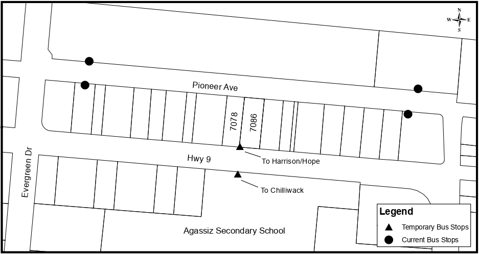 Temporary bus stop relocation map