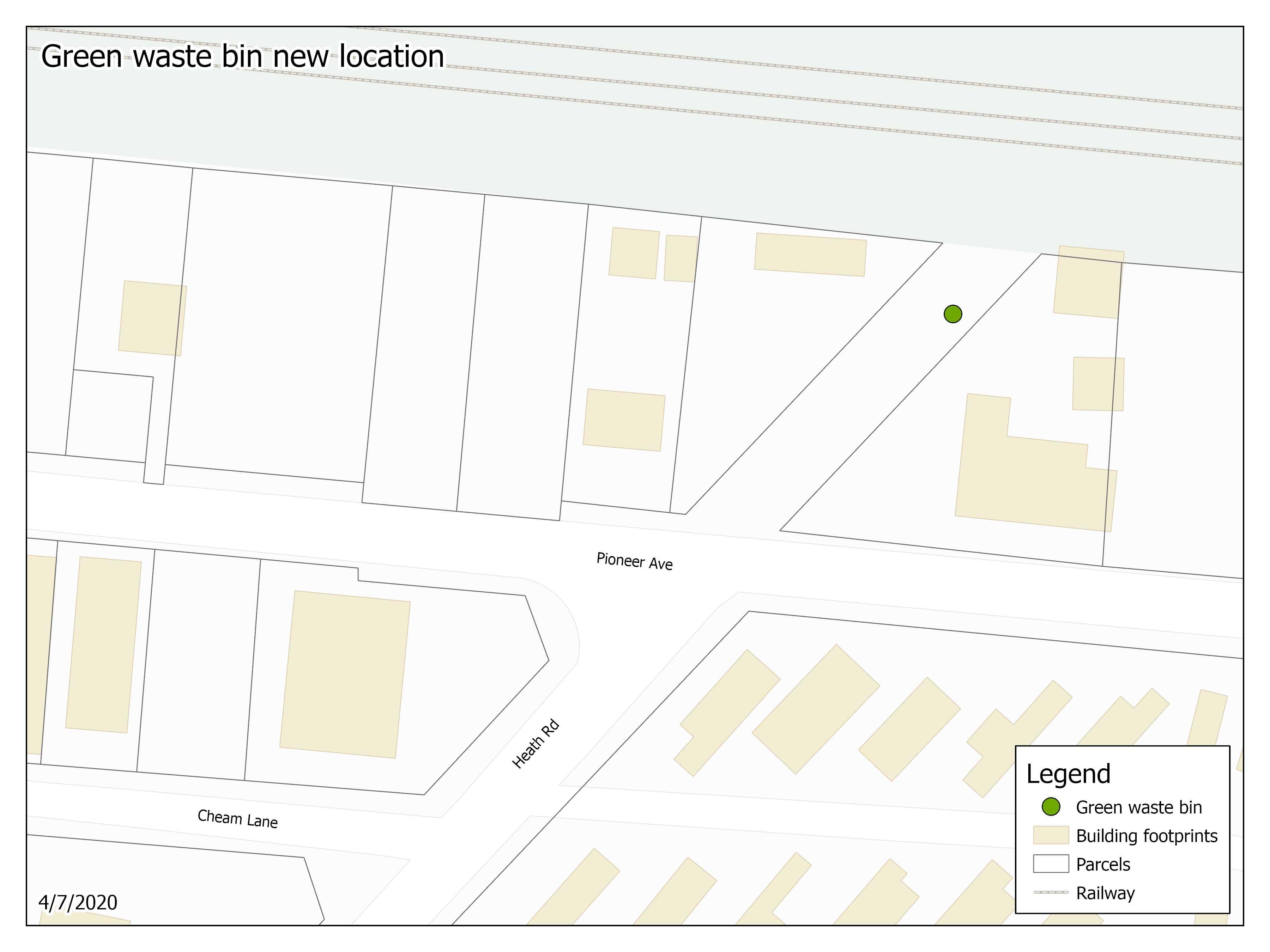 Green waste bin location map