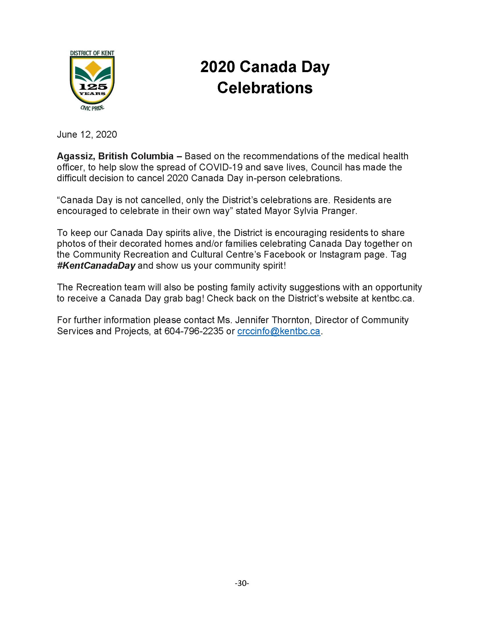 June 12- Canada Day Press Release