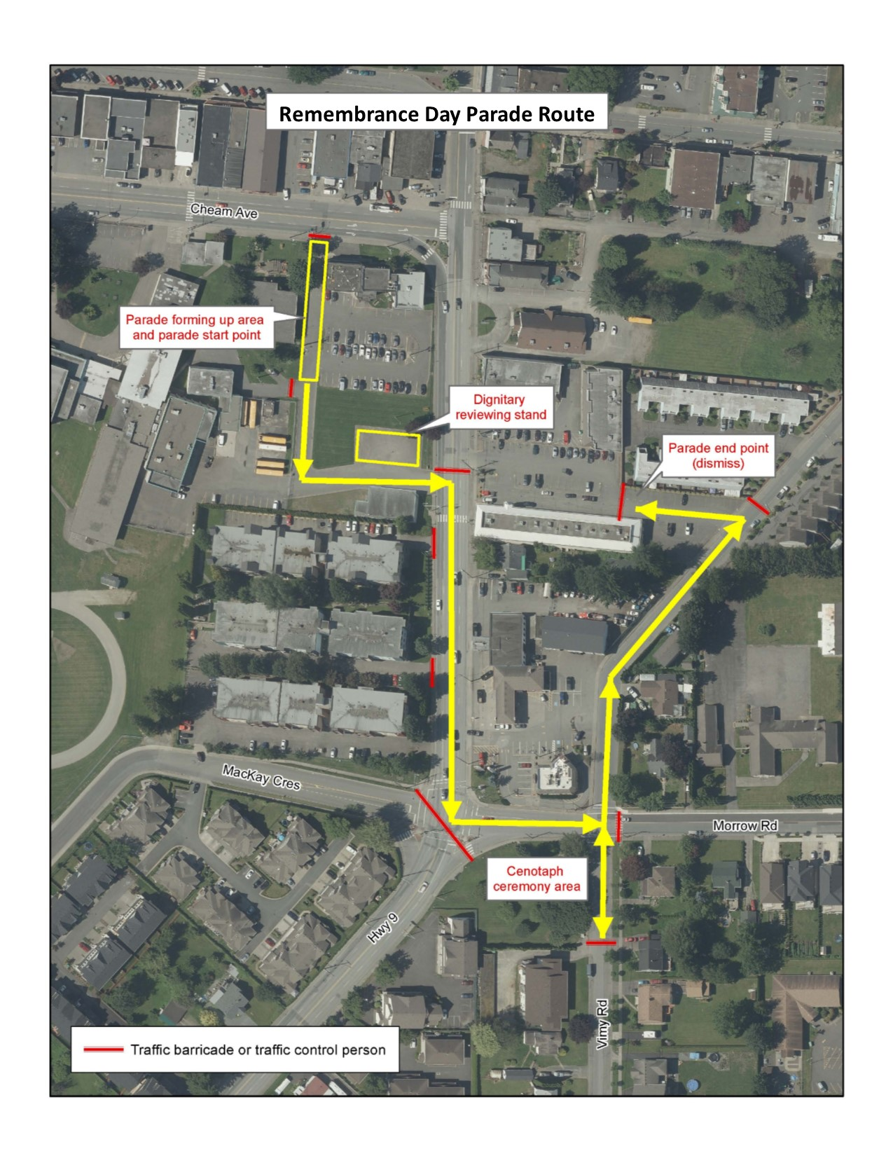 Remembrance Day parade route