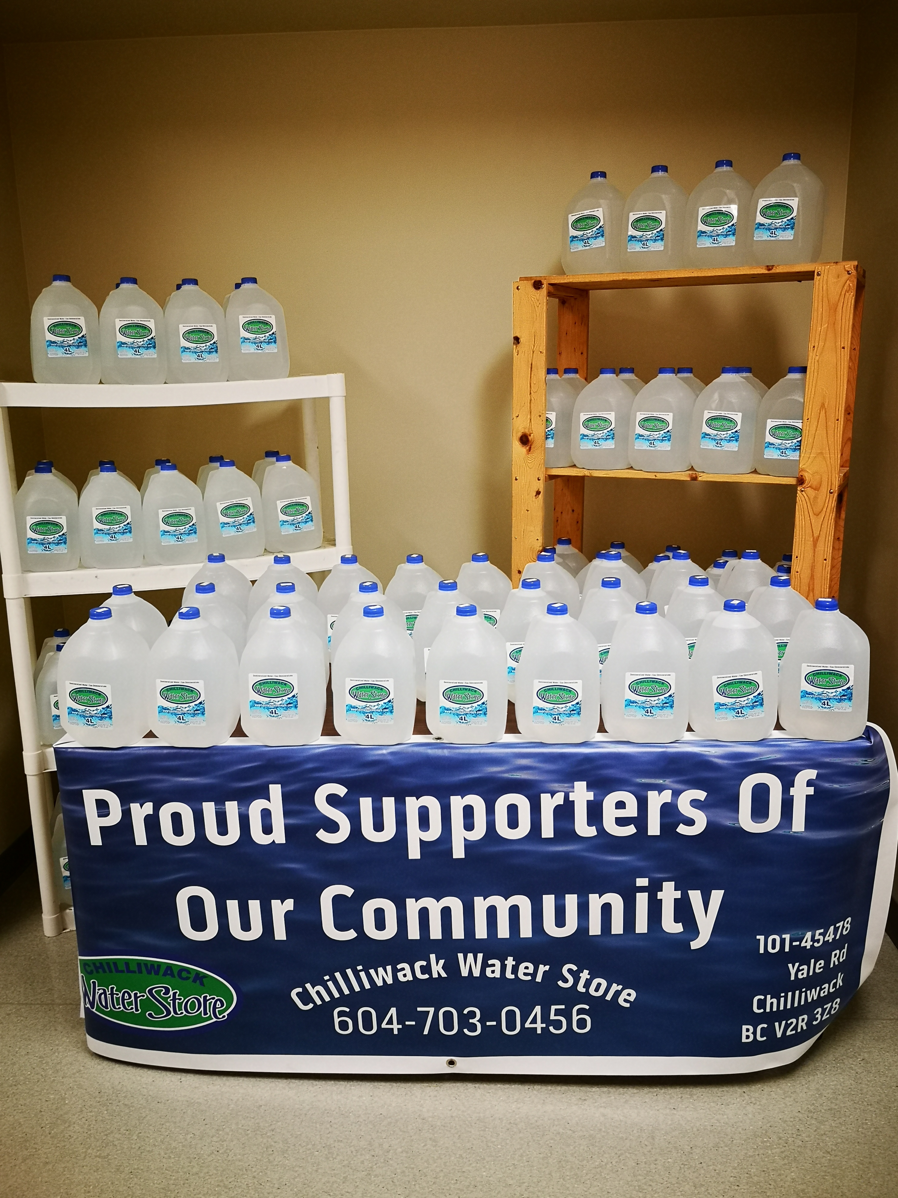 Donated water jugs