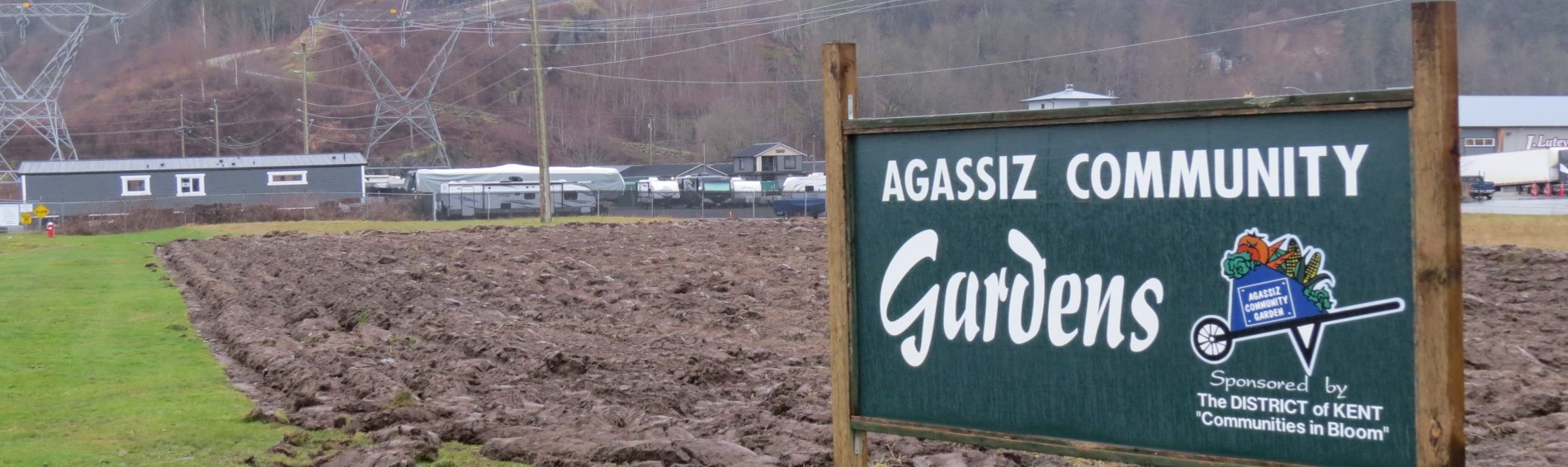 Community gardens with sign
